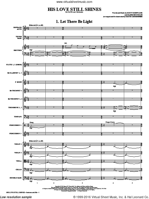 His Love Still Shines (COMPLETE) sheet music for orchestra by Keith Christopher. Score Image Preview.