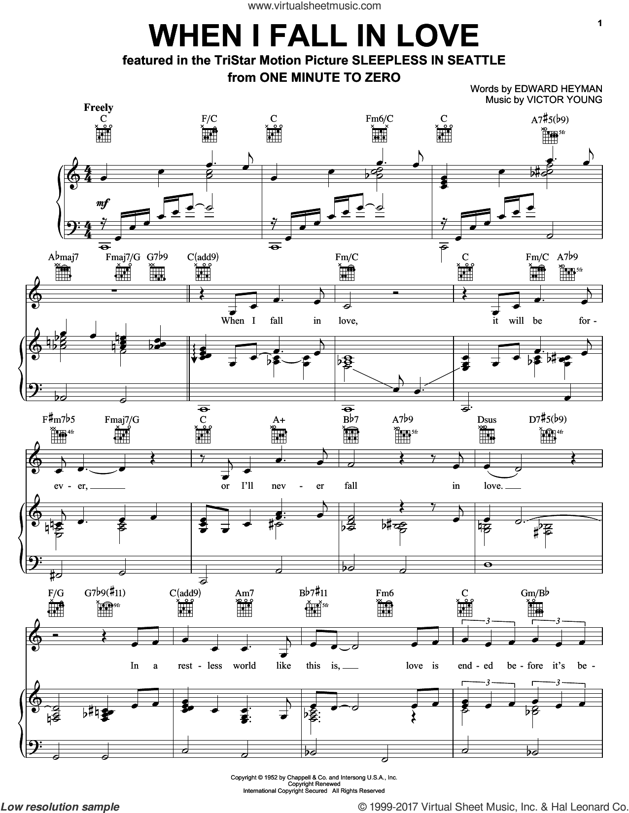 When I Fall In Love sheet music for voice, piano or guitar by Celine Dion, David Foster, Doris Day, Edward Heyman and Victor Young. Score Image Preview.