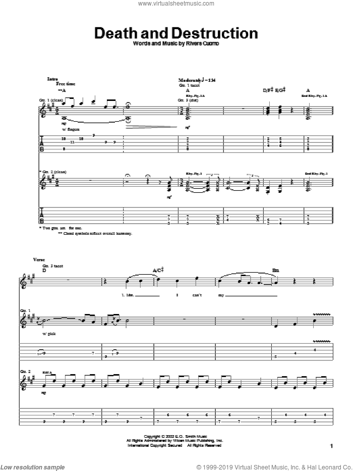 Death And Destruction sheet music for guitar (tablature) by Rivers Cuomo and Weezer. Score Image Preview.