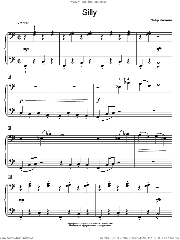 Silly sheet music for piano solo by Phillip Keveren and Miscellaneous. Score Image Preview.