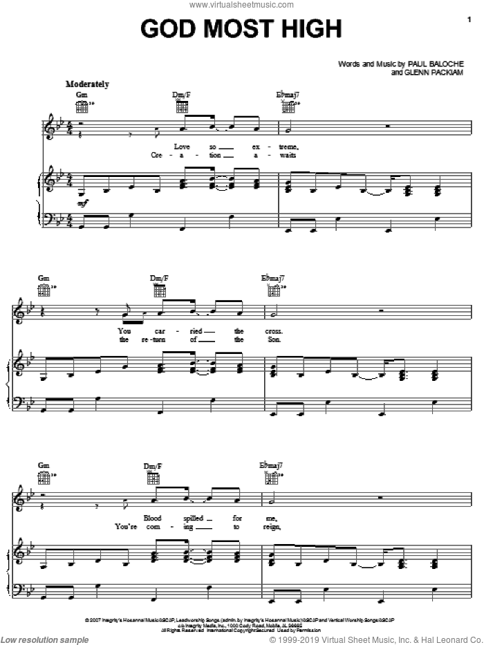 God Most High sheet music for voice, piano or guitar by Paul Baloche and Glenn Packiam, intermediate skill level