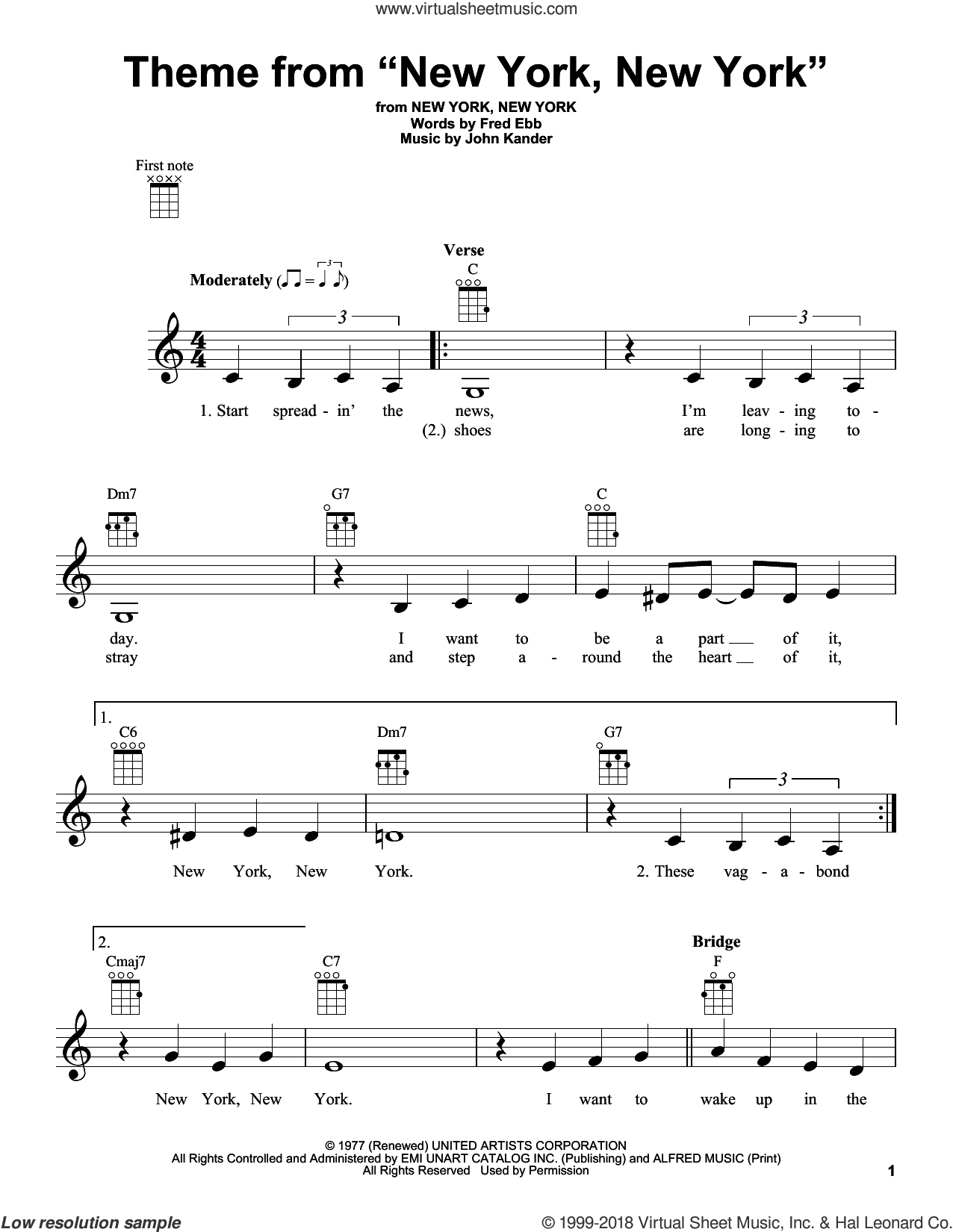 Theme From 'New York, New York' sheet music for ukulele by Frank Sinatra, Fred Ebb and John Kander, intermediate skill level