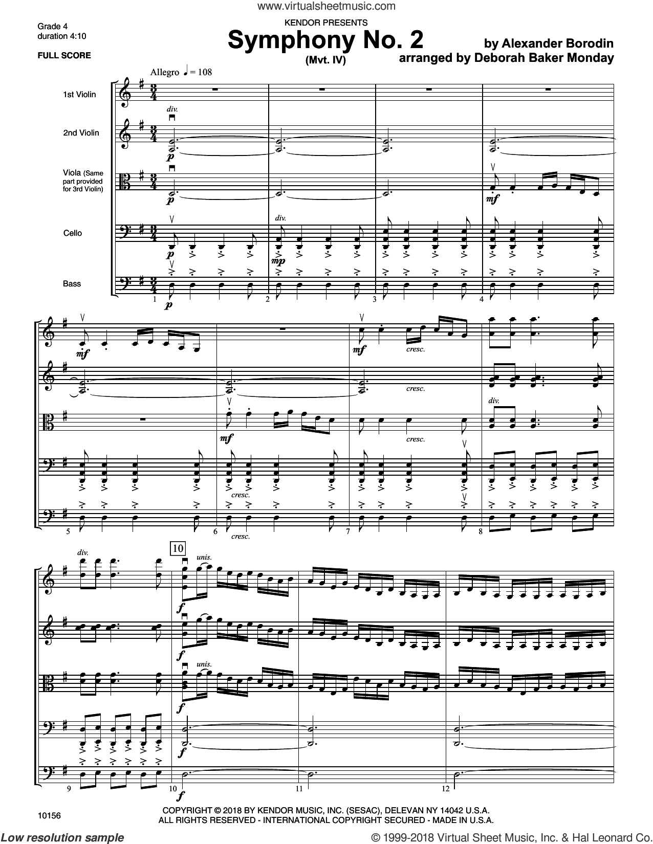 Symphony No. 2 (Mvt. IV) (COMPLETE) sheet music for orchestra by Deborah Baker Monday and Alexander Borodin, classical score, intermediate skill level