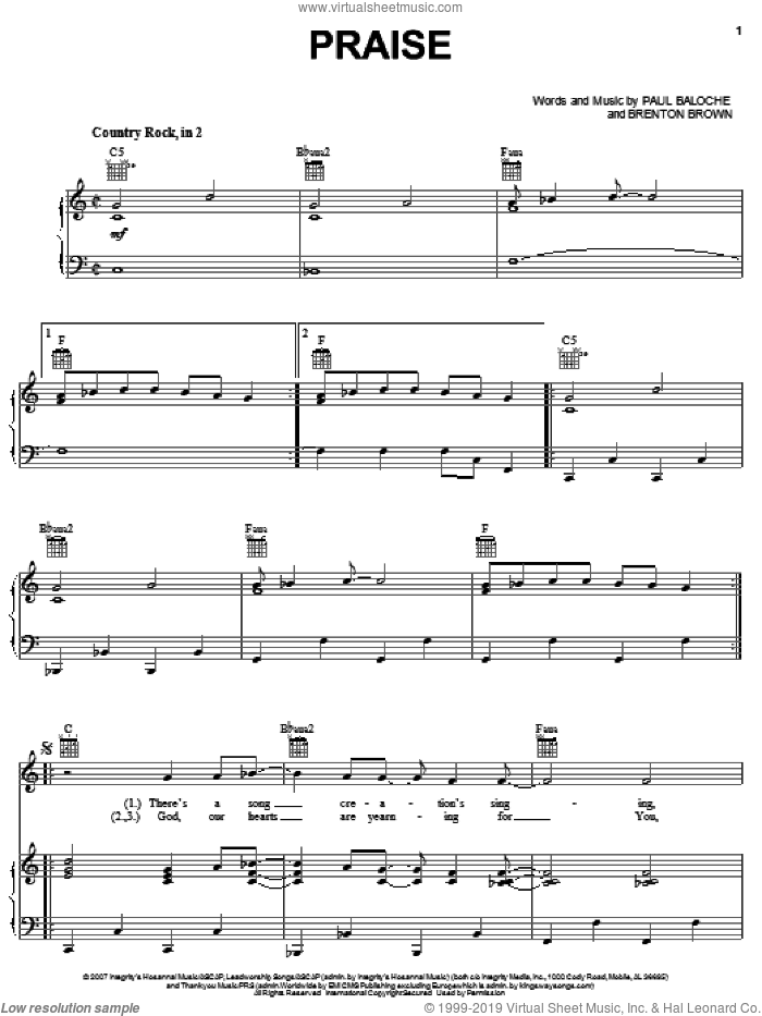 Praise sheet music for voice, piano or guitar by Paul Baloche and Brenton Brown, intermediate skill level