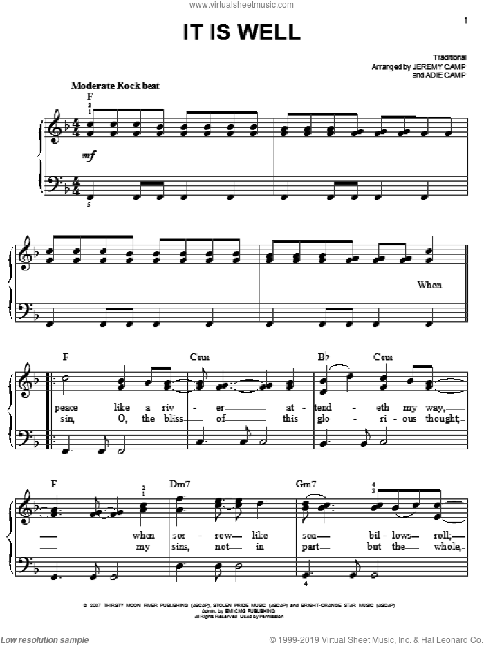It Is Well sheet music for piano solo by Jeremy and Adie Camp and Jeremy Camp, easy. Score Image Preview.