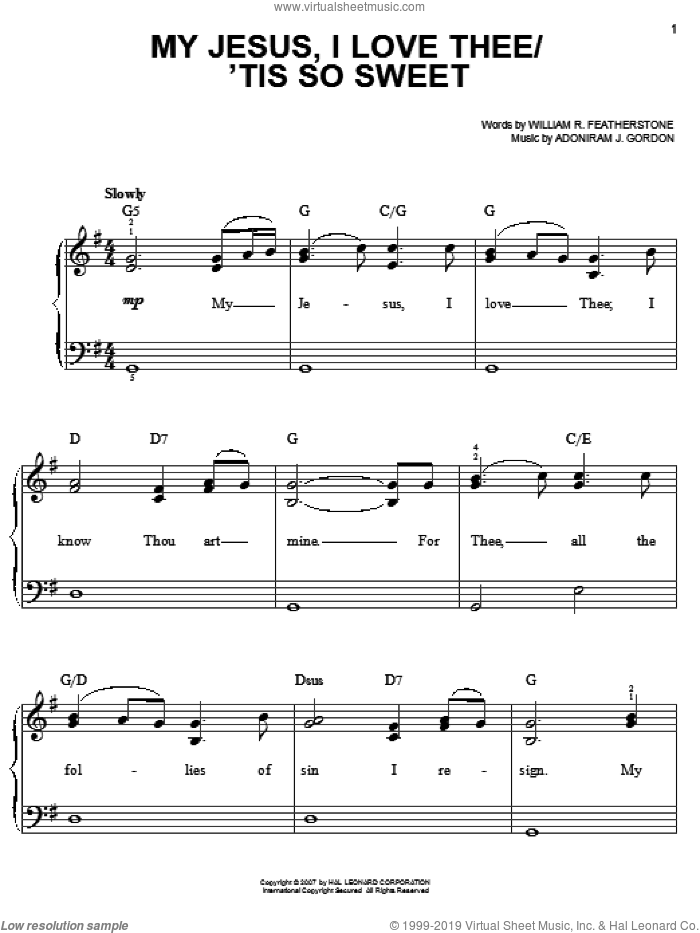 My Jesus, I Love Thee sheet music for piano solo by Bart Millard, Amazing Grace (Movie), Adoniram J. Gordon and William R. Featherstone, easy skill level