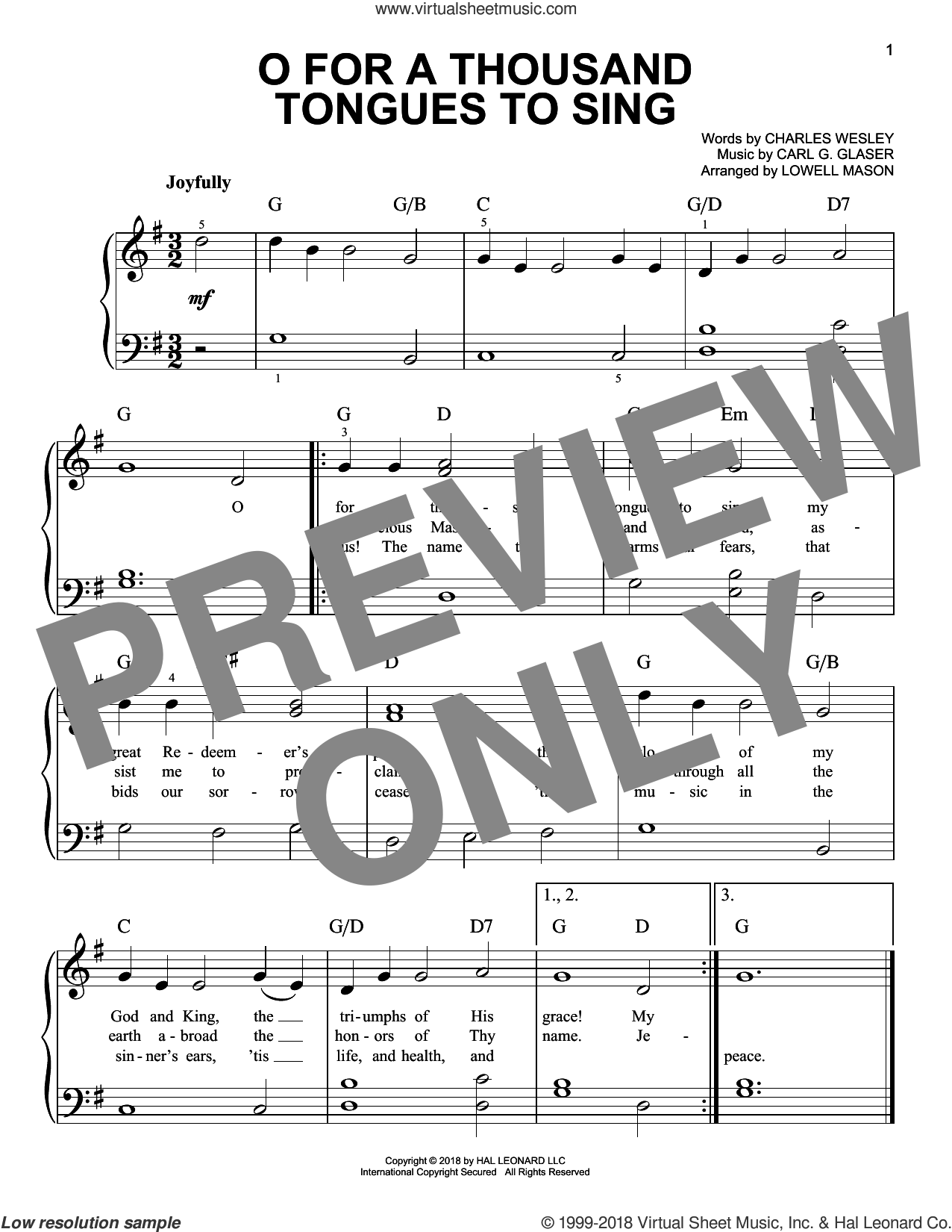 O For A Thousand Tongues To Sing sheet music for piano solo by Charles Wesley, Carl G. Glaser and Lowell Mason, easy skill level