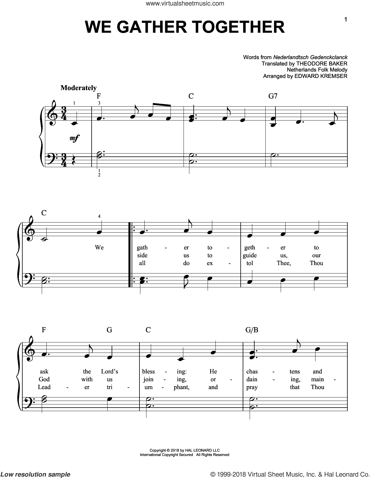We Gather Together sheet music for piano solo by Theodore Baker, Eduard Kremser and Nederlandtsch Gedenckclanck, easy skill level