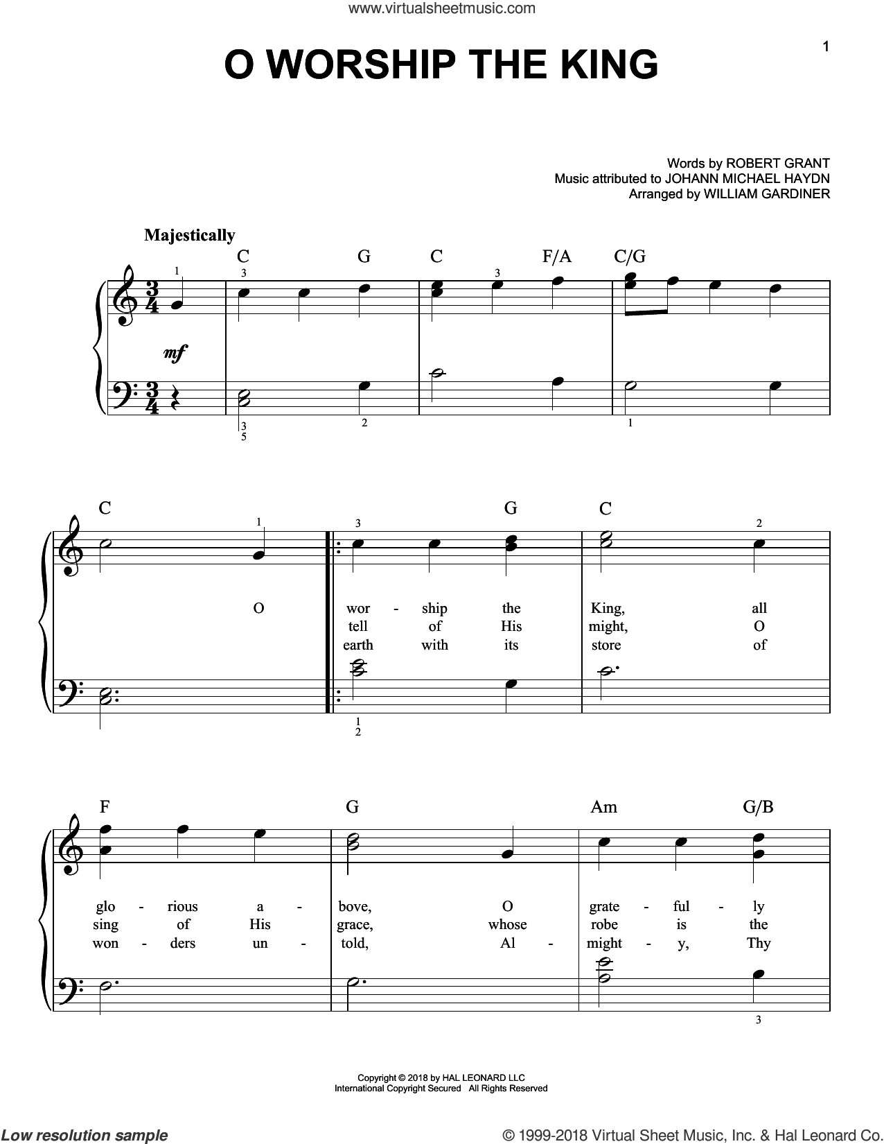 O Worship The King sheet music for piano solo by Johann Michael Haydn, Robert Grant and William Gardiner, easy skill level
