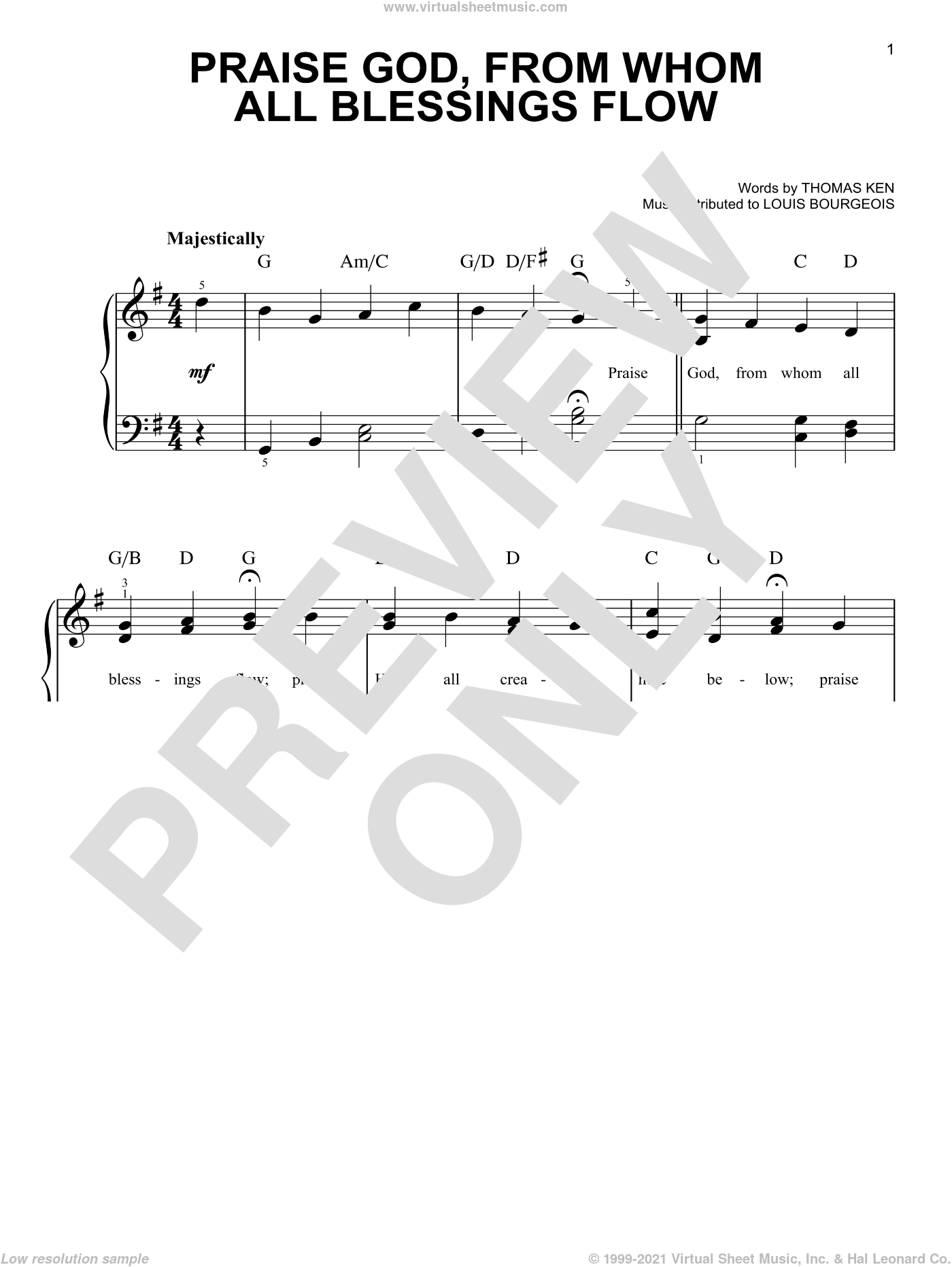 Praise God, From Whom All Blessings Flow sheet music for piano solo by Thomas Ken and Louis Bourgeois, easy skill level