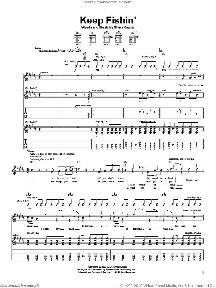 Keep Fishin' sheet music for guitar (tablature) by Rivers Cuomo and Weezer. Score Image Preview.
