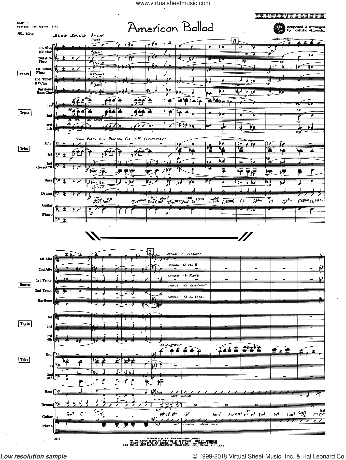 American Ballad (COMPLETE) sheet music for jazz band by Toshiko Akiyoshi, intermediate skill level