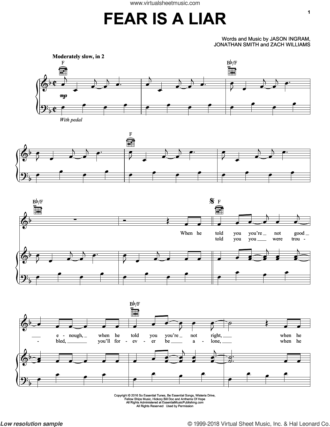 Fear Is A Liar sheet music for voice, piano or guitar by Zach Williams, Jason Ingram and Jonathan Smith, intermediate skill level