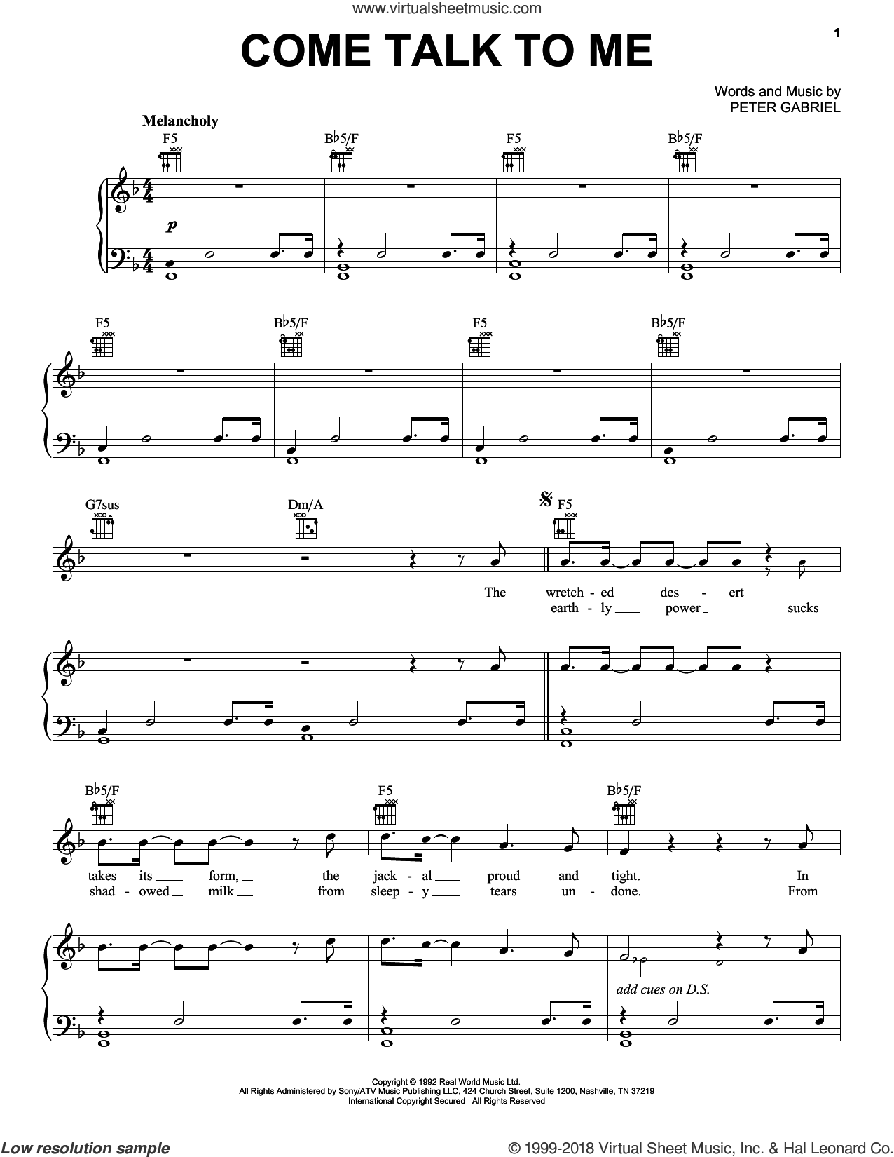Come Talk To Me sheet music for voice, piano or guitar by Peter Gabriel, intermediate skill level