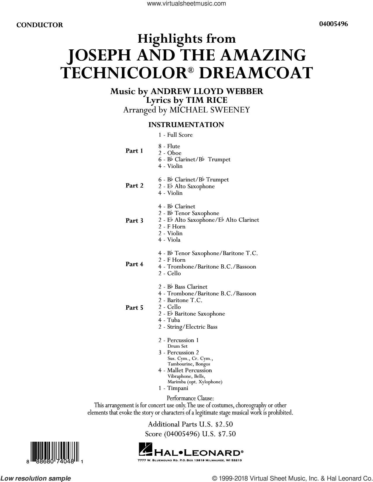 Highlights from Joseph and the Amazing Technicolor Dreamcoat (COMPLETE) sheet music for concert band by Michael Sweeney and Andrew Lloyd Webber, intermediate skill level