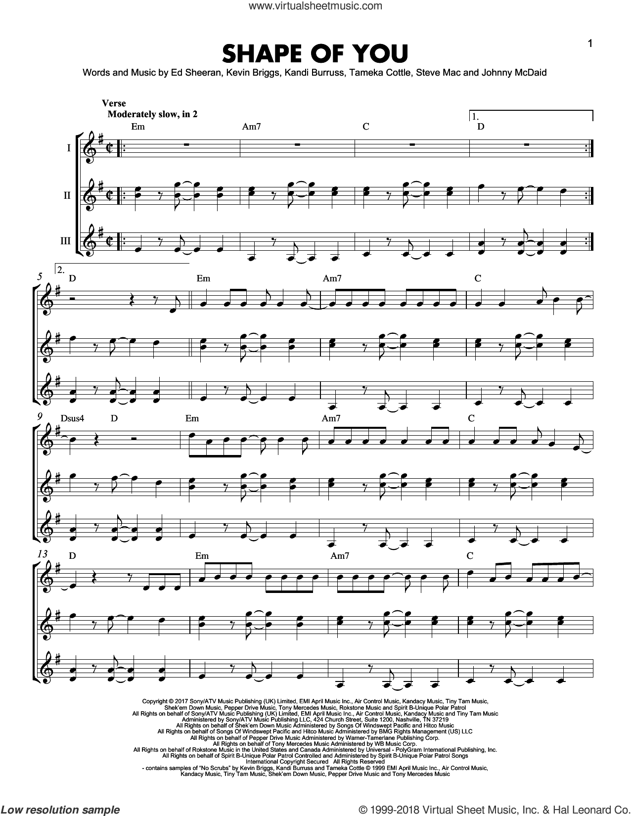 Shape Of You sheet music for guitar ensemble by Ed Sheeran, Johnny McDaid, Kandi Burruss, Kevin Briggs, Steve Mac and Tameka Cottle, intermediate skill level