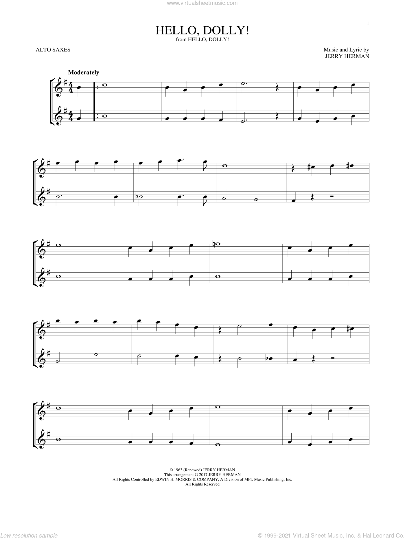 Hello, Dolly! sheet music for two alto saxophones (duets) by Louis Armstrong and Jerry Herman, intermediate skill level