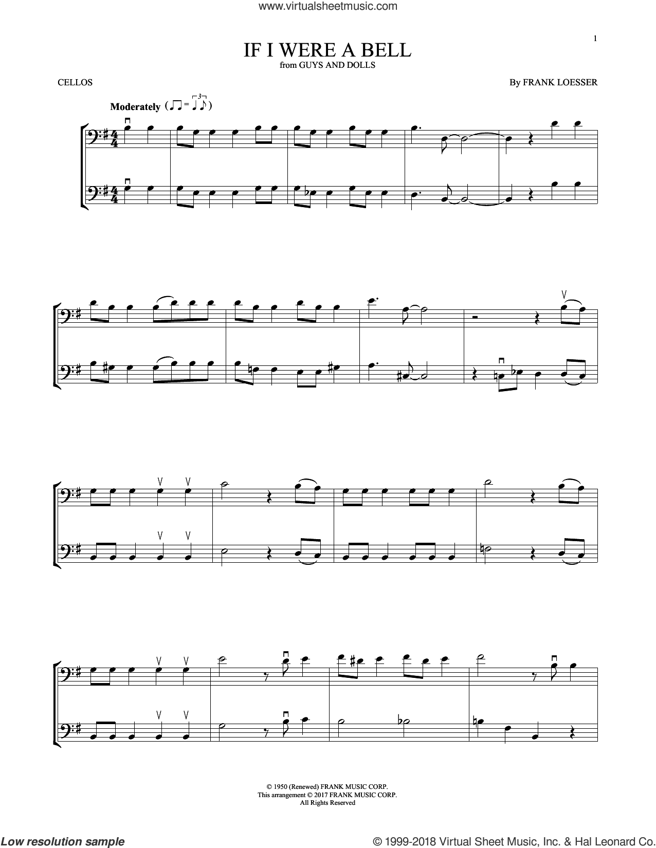 If I Were A Bell sheet music for two cellos (duet, duets) by Frank Loesser, intermediate skill level
