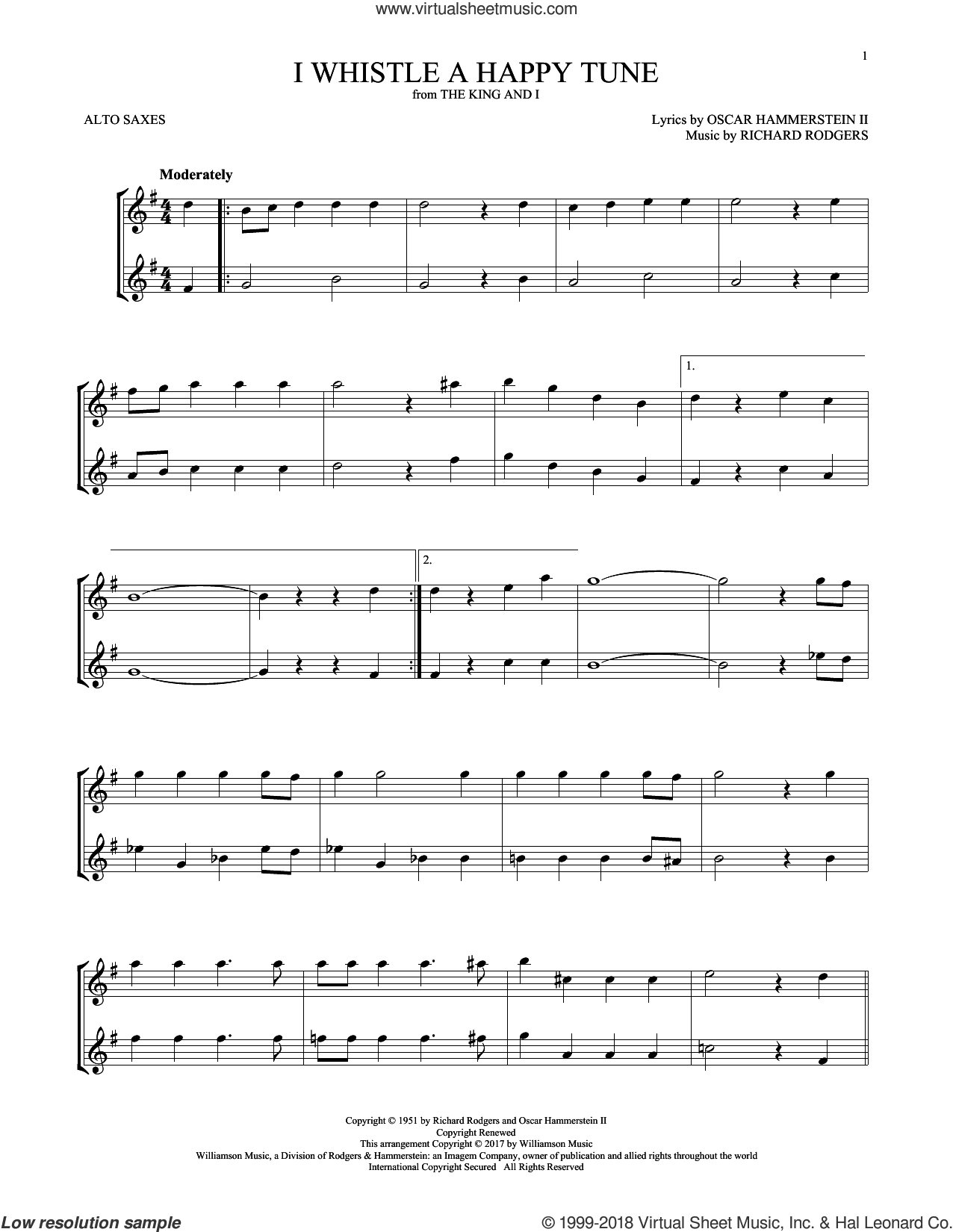 I Whistle A Happy Tune sheet music for two alto saxophones (duets) by Richard Rodgers, Oscar II Hammerstein and Rodgers & Hammerstein, intermediate skill level