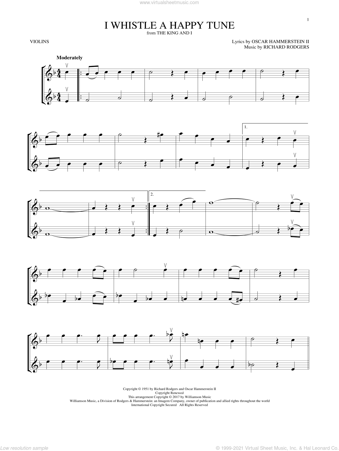 I Whistle A Happy Tune sheet music for two violins (duets, violin duets) by Richard Rodgers, Oscar II Hammerstein and Rodgers & Hammerstein, intermediate skill level