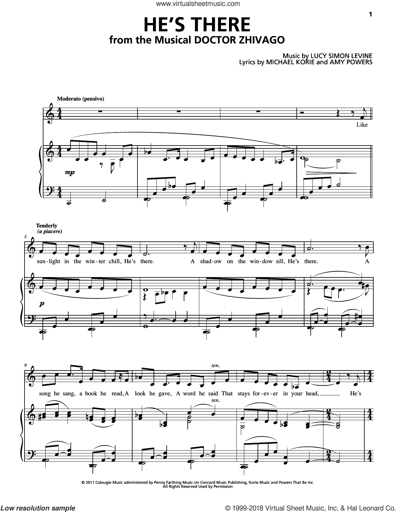 He's There sheet music for voice and piano by Lucy Simon, Amy Powers, Lucy Simon Levine, Lucy Simon Levine and Michael Korie & Amy Powers, Lucy Simon and Michael Korie & Amy Powers and Michael Korie, intermediate skill level