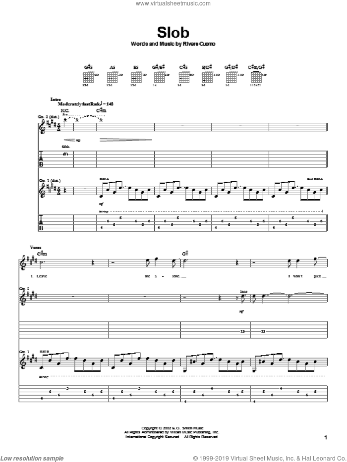 Slob sheet music for guitar (tablature) by Rivers Cuomo and Weezer. Score Image Preview.