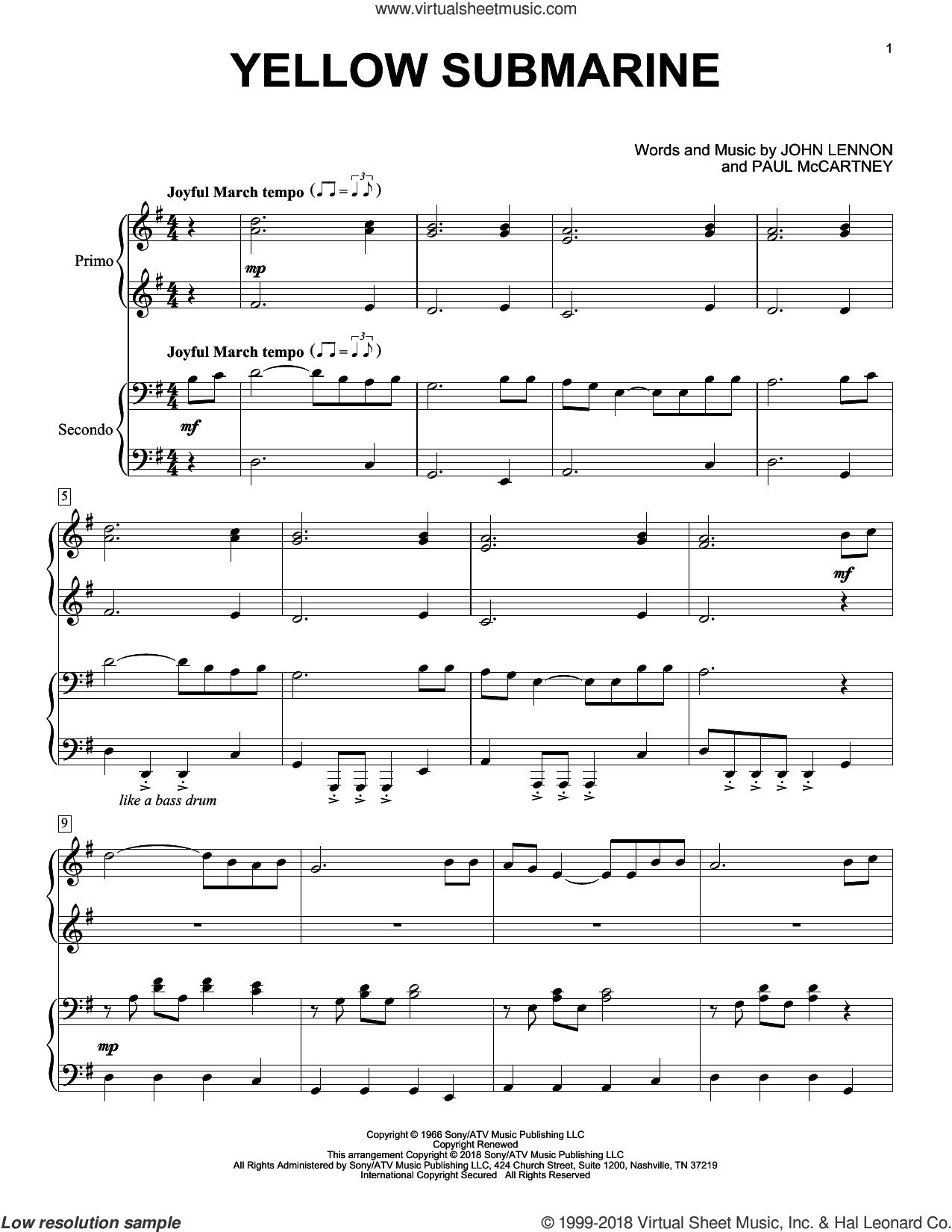 Yellow Submarine (arr. Christopher Hussey) sheet music for piano four hands by The Beatles, Eric Baumgartner, John Lennon and Paul McCartney, intermediate skill level