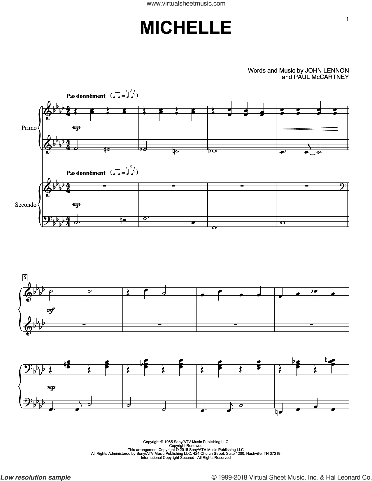 Michelle sheet music for piano four hands by The Beatles, Eric Baumgartner, John Lennon and Paul McCartney, intermediate skill level