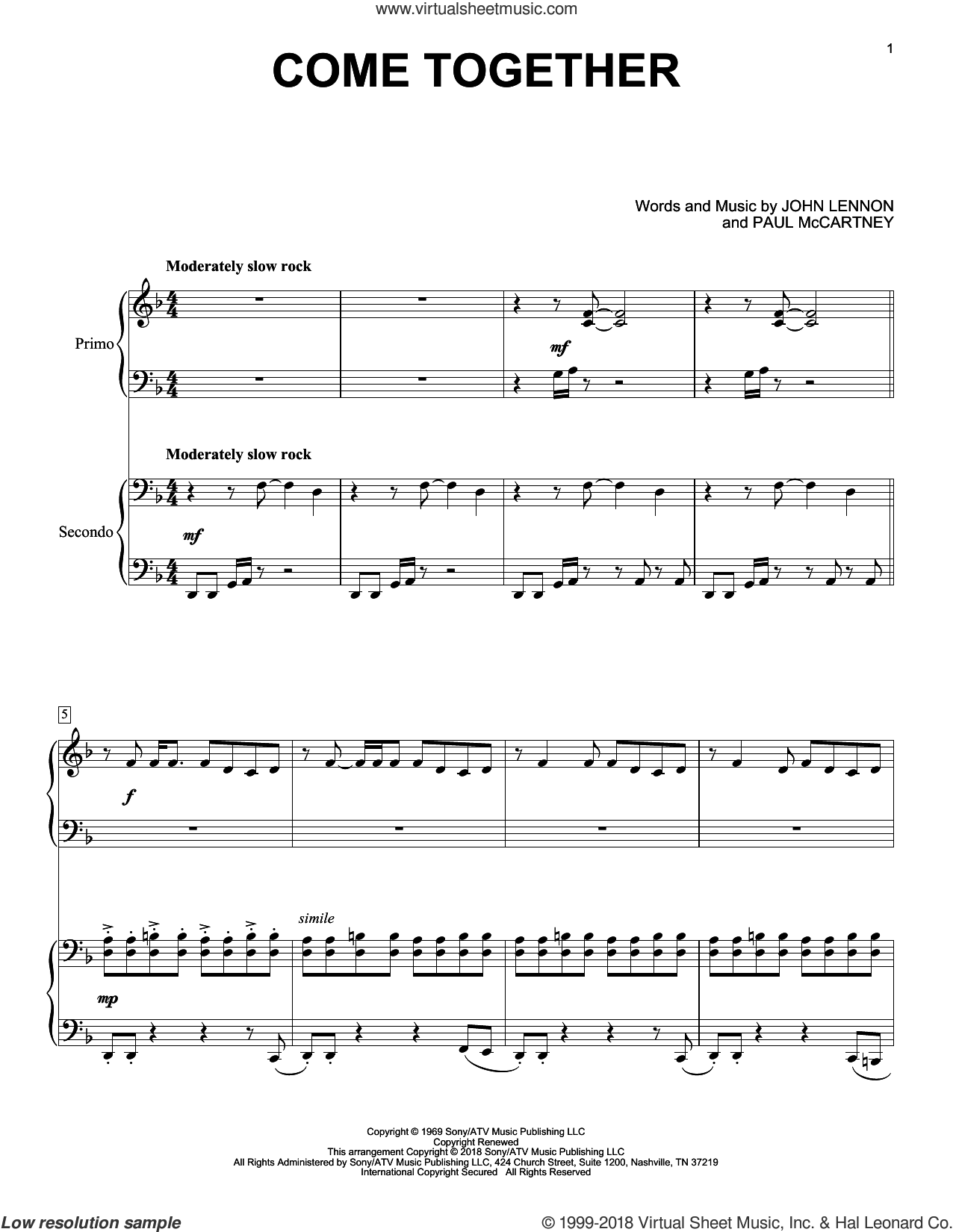 Come Together sheet music for piano four hands by The Beatles, Eric Baumgartner, John Lennon and Paul McCartney, intermediate skill level