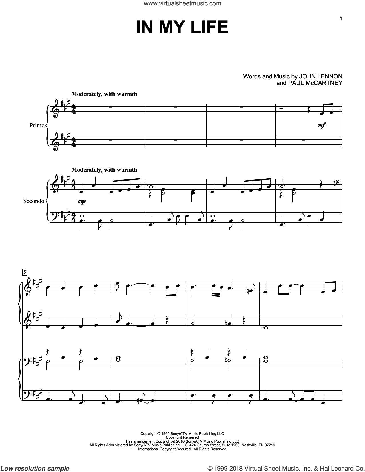 In My Life sheet music for piano four hands by The Beatles, Eric Baumgartner, John Lennon and Paul McCartney, intermediate skill level