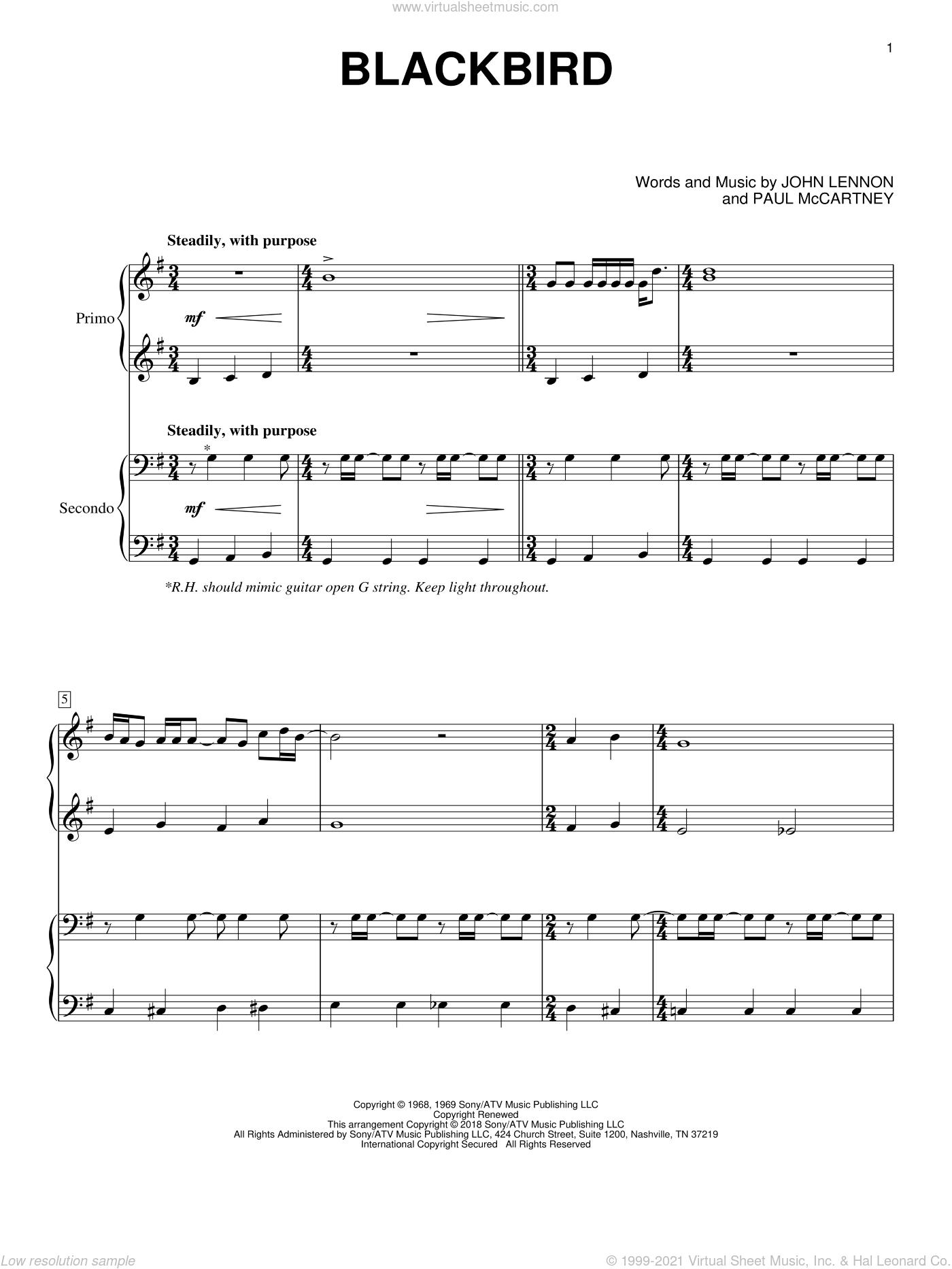 Blackbird sheet music for piano four hands by The Beatles, Eric Baumgartner, John Lennon and Paul McCartney, intermediate skill level