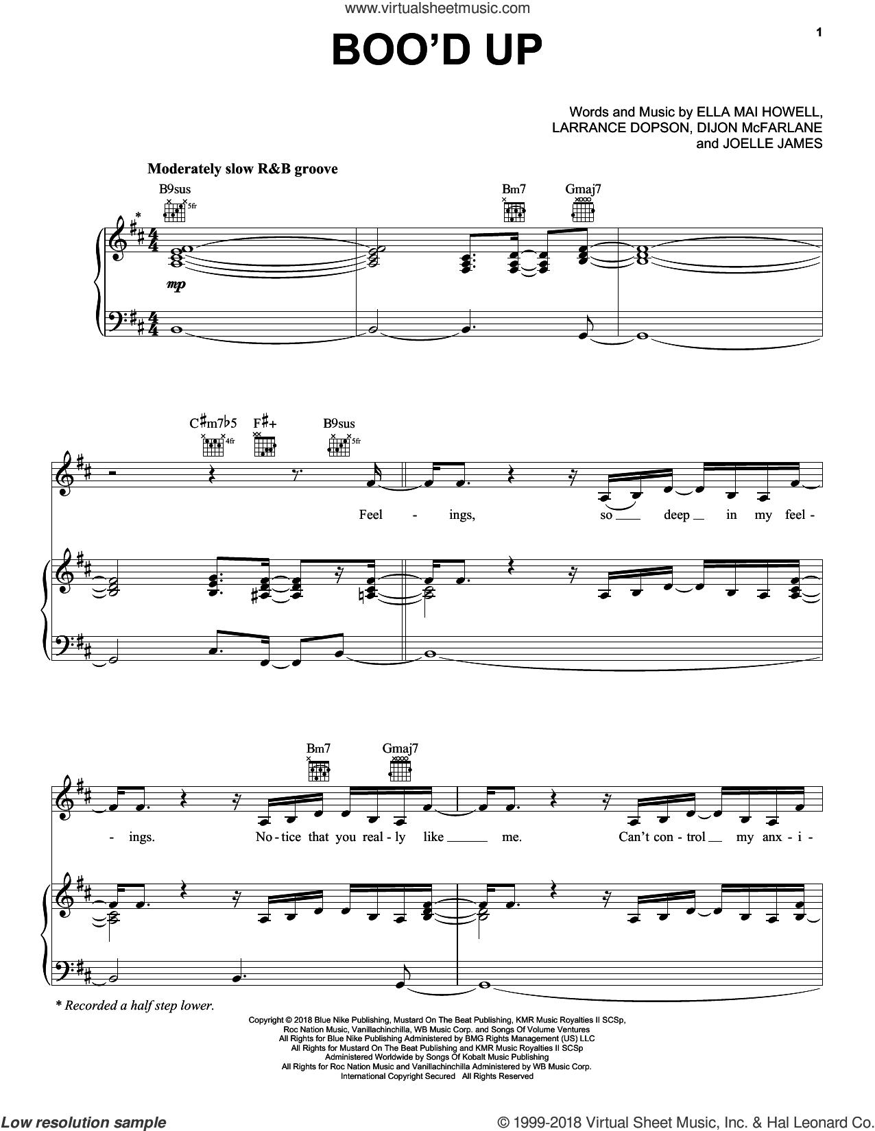 Boo'd Up sheet music for voice, piano or guitar by Ella Mai, Ella Mai feat. DJ Mustard, Dijon McFarlane, Ella Mai Howell, Joelle James and Larrance Dopson, intermediate skill level