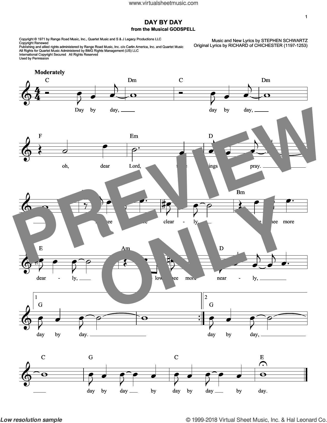 Day By Day sheet music for voice and other instruments (fake book) by Stephen Schwartz and Richard of Chichester, intermediate skill level