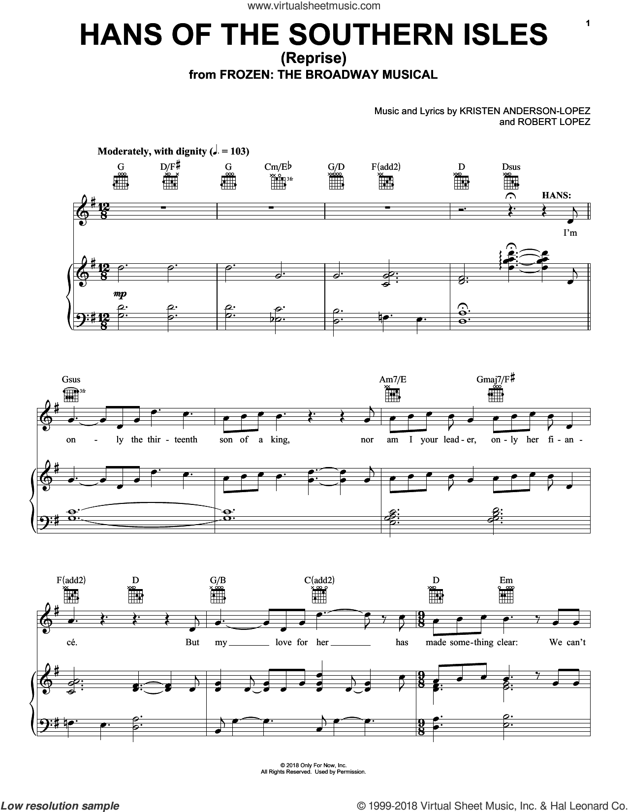 Hans Of The Southern Isles (Reprise) (from Frozen: The Broadway Musical) sheet music for voice, piano or guitar by Robert Lopez, Kristen Anderson-Lopez and Kristen Anderson-Lopez & Robert Lopez, intermediate skill level
