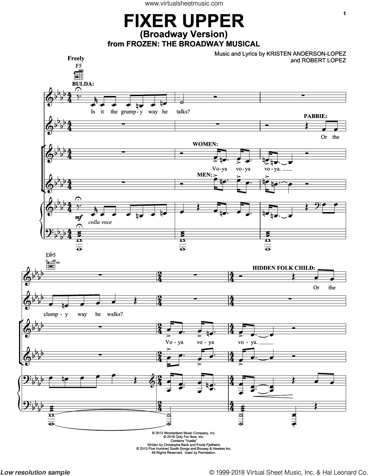 Fixer Upper (from Frozen: The Broadway Musical) sheet music for voice, piano or guitar by Robert Lopez, Kristen Anderson-Lopez and Kristen Anderson-Lopez & Robert Lopez, intermediate skill level
