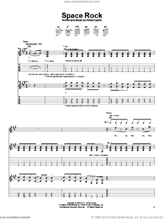 Space Rock sheet music for guitar (tablature) by Rivers Cuomo