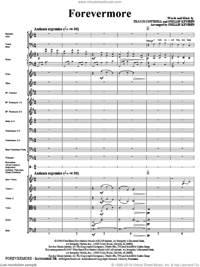 Forevermore (COMPLETE) sheet music for orchestra/band (Orchestra) by Travis Cottrell, Phillip Keveren and Psalm 145, intermediate skill level