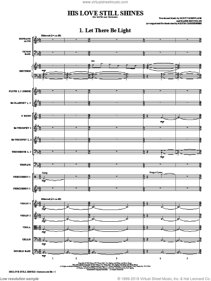 His Love Still Shines (COMPLETE) sheet music for orchestra/band (Orchestra) by Keith Christopher, intermediate. Score Image Preview.