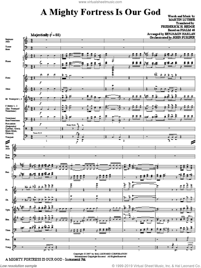 A Mighty Fortress Is Our God (COMPLETE) sheet music for orchestra/band (Special) by Benjamin Harlan, Frederick H. Hedge, Martin Luther and Miscellaneous, intermediate skill level
