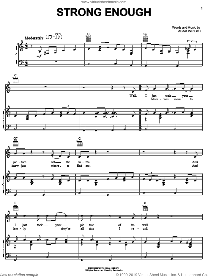Strong Enough sheet music for voice, piano or guitar by Adam Wright and Alan Jackson. Score Image Preview.
