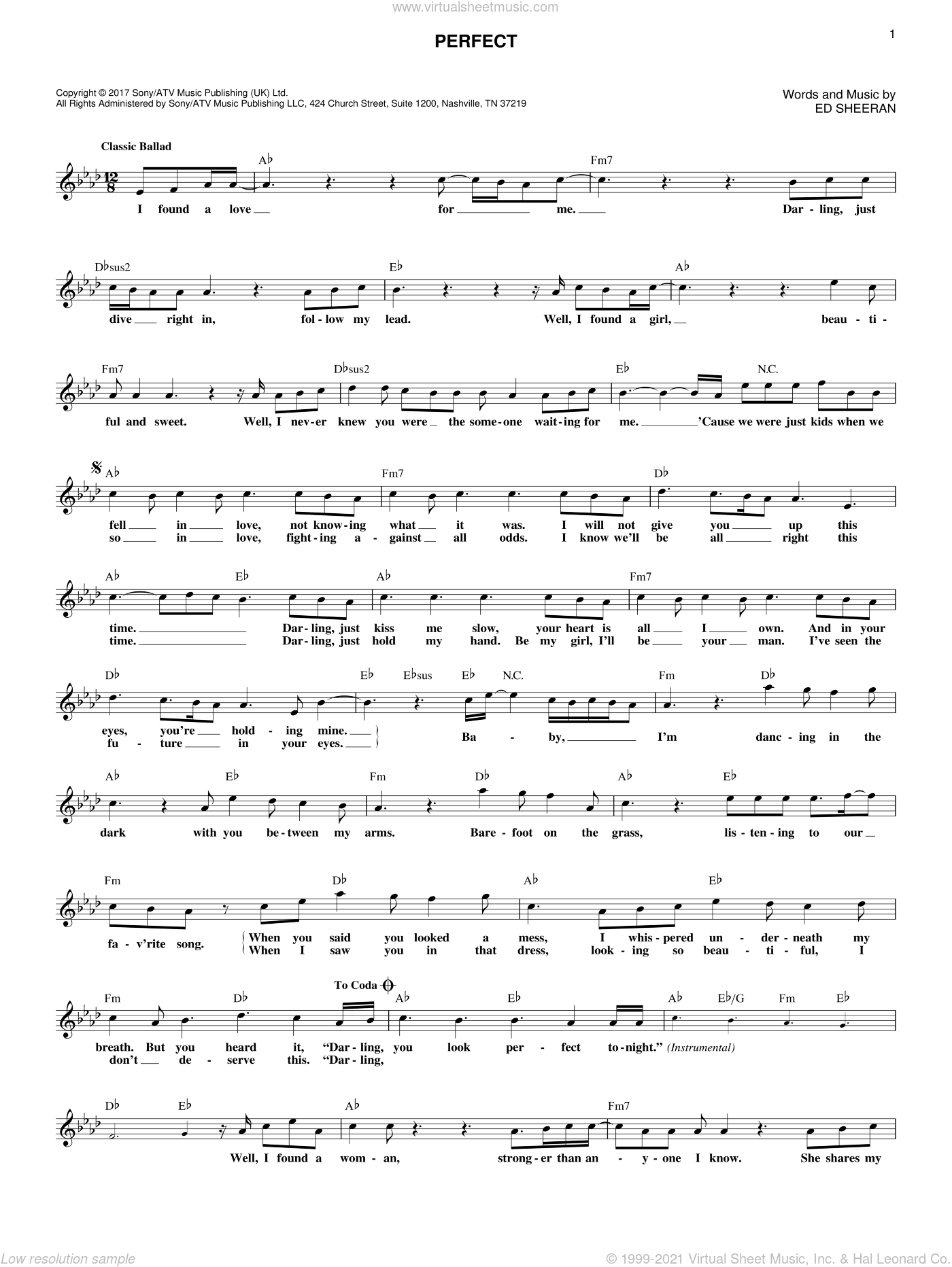 Perfect sheet music for voice and other instruments (fake book) by Ed Sheeran, wedding score, intermediate skill level