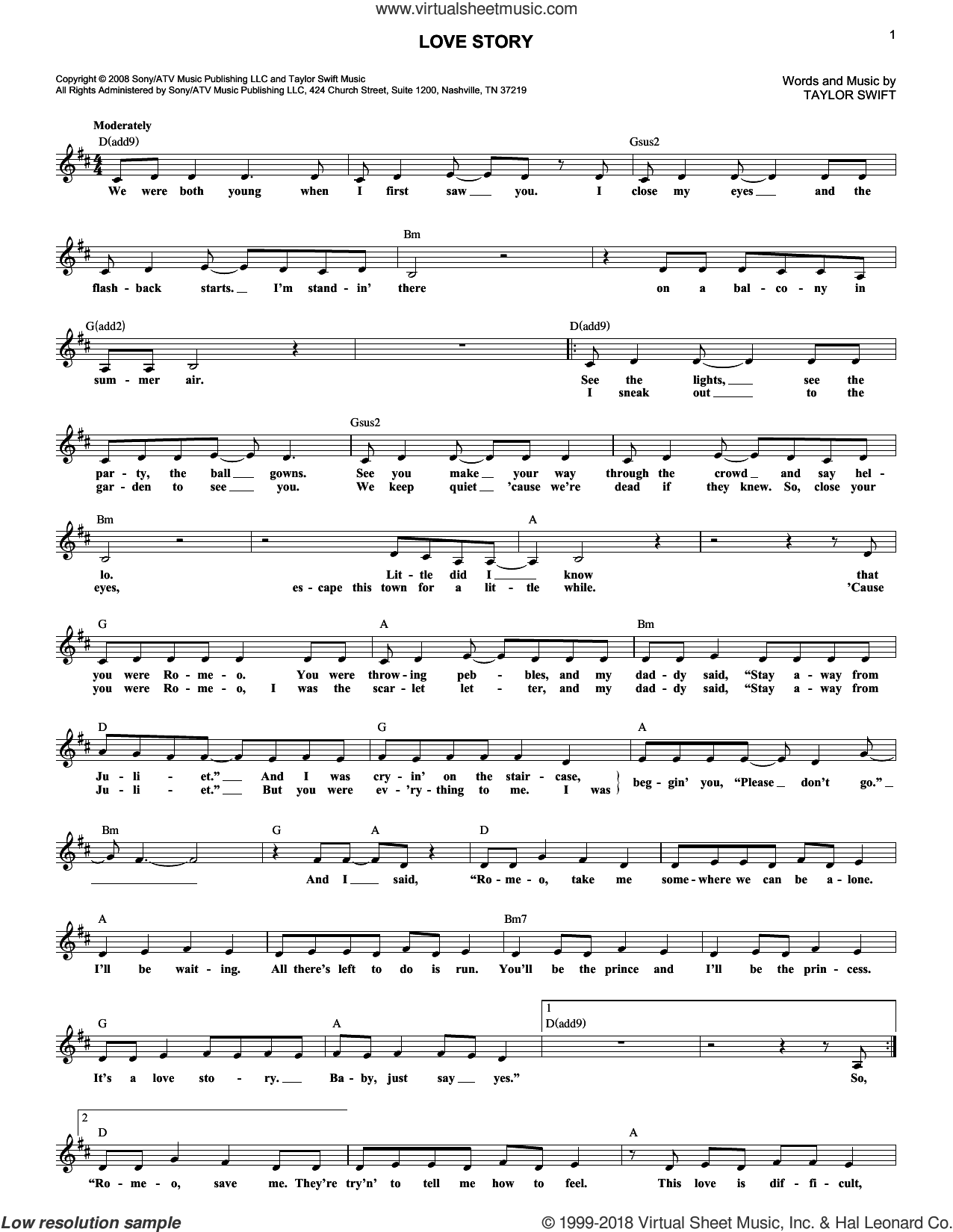 Love Story sheet music for voice and other instruments (fake book) by Taylor Swift, wedding score, intermediate skill level