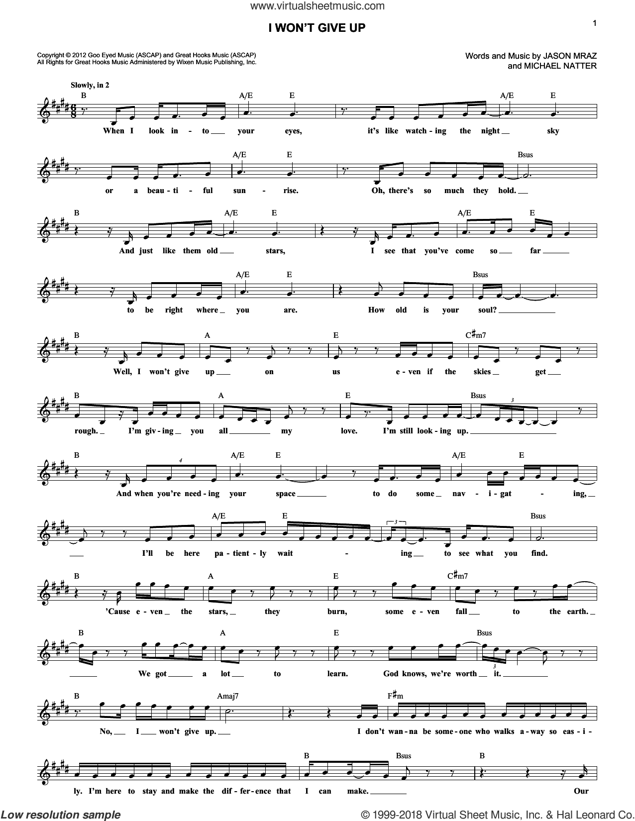 I Won't Give Up sheet music for voice and other instruments (fake book) by Jason Mraz and Michael Natter, wedding score, intermediate skill level