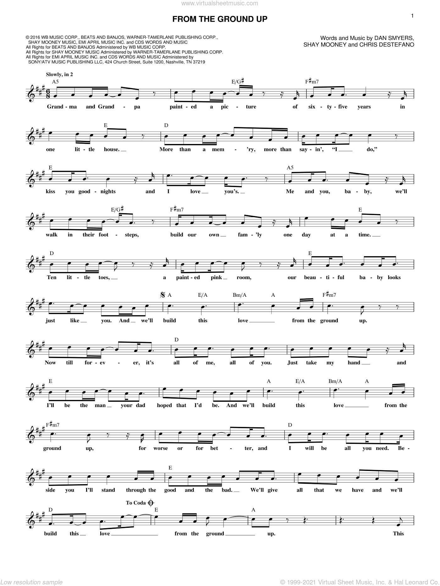 From The Ground Up sheet music for voice and other instruments (fake book) by Dan & Shay, Chris Destefano, Dan Smyers and Shay Mooney, wedding score, intermediate skill level