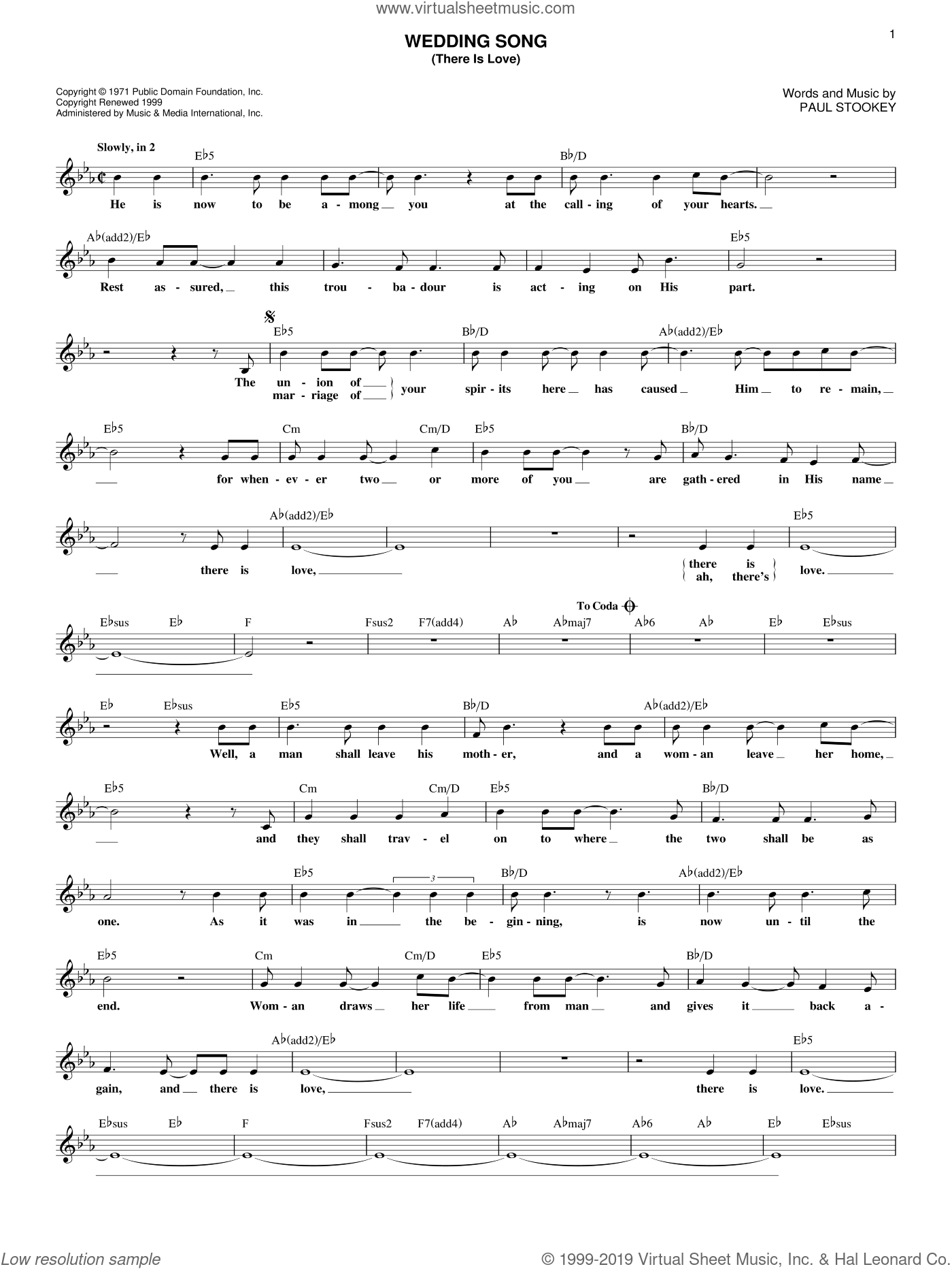 Wedding Song (There Is Love) sheet music for voice and other instruments (fake book) by Peter, Paul & Mary, Petula Clark and Paul Stookey, wedding score, intermediate skill level