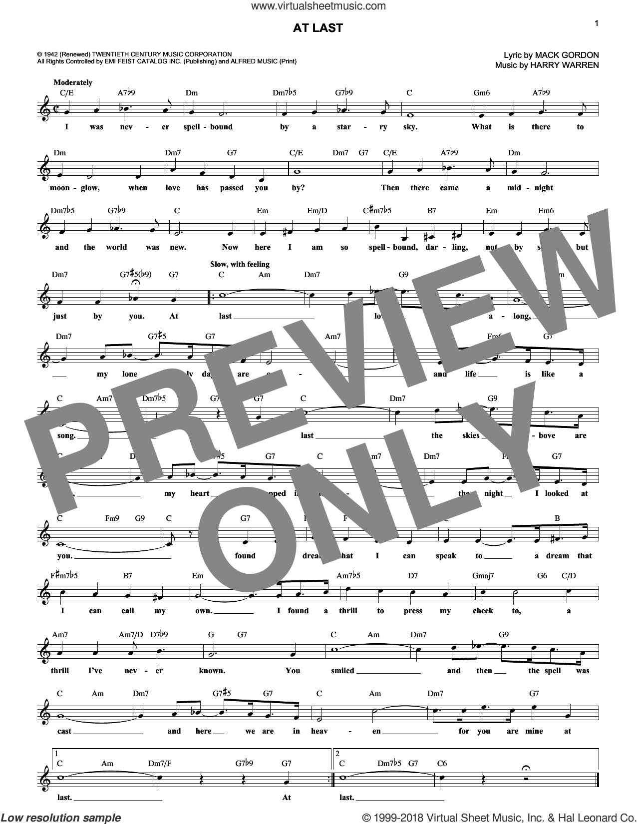 At Last sheet music for voice and other instruments (fake book) by Etta James, Celine Dion, Harry Warren and Mack Gordon, wedding score, intermediate skill level