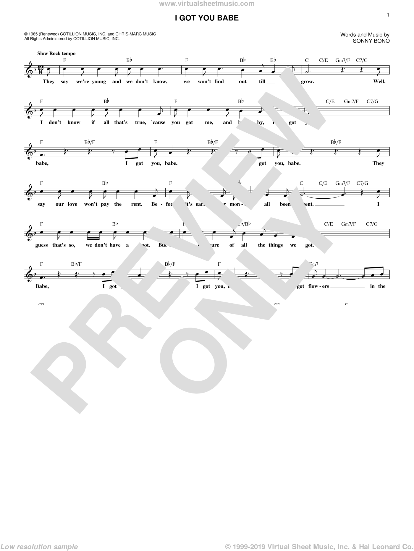 I Got You Babe sheet music for voice and other instruments (fake book) by Sonny & Cher and Sonny Bono, wedding score, intermediate skill level