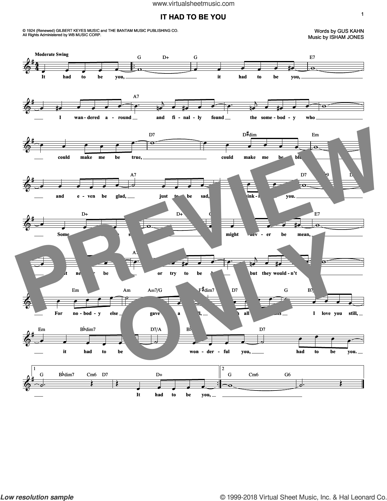 It Had To Be You sheet music for voice and other instruments (fake book) by Isham Jones and Gus Kahn, wedding score, intermediate skill level