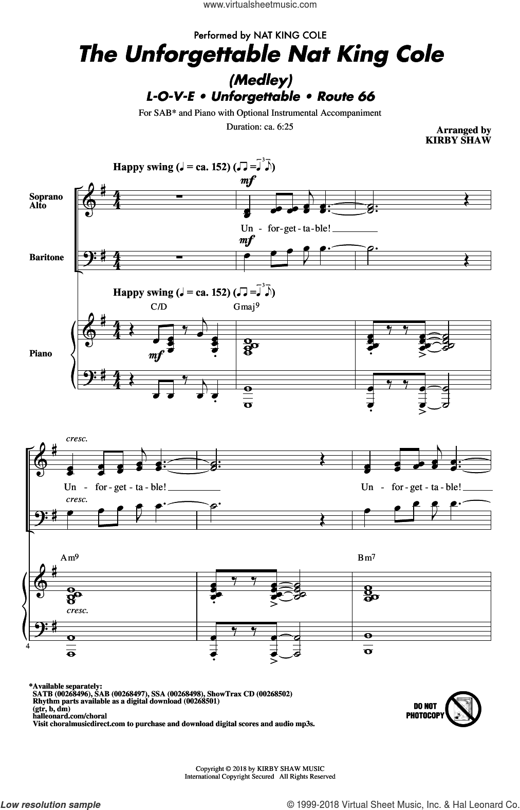 The Unforgettable Nat King Cole (Medley) sheet music for choir (SAB: soprano, alto, bass) by Bert Kaempfert, Kirby Shaw, Nat King Cole, Natalie Cole and Milt Gabler, intermediate skill level