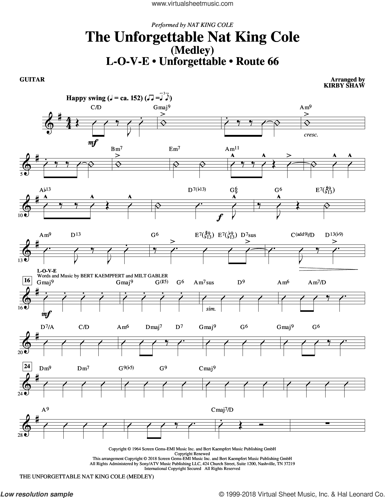 The Unforgettable Nat King Cole (Medley) (complete set of parts) sheet music for orchestra/band by Kirby Shaw, Bert Kaempfert, Milt Gabler, Nat King Cole and Natalie Cole, intermediate skill level
